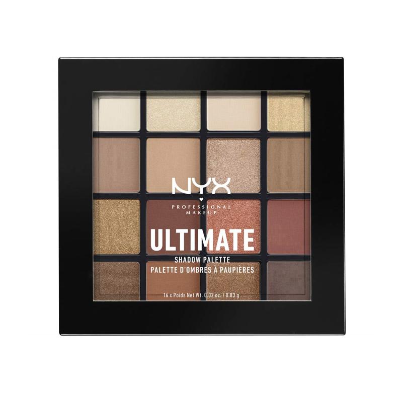 NYX Professional Makeup Paleta de sombra de ojos Ultimate Shadow Palette, Pigmentos compactos, 16 sombras, Acabados mate, satinados y metalizados, Tono: Warm Neutrals