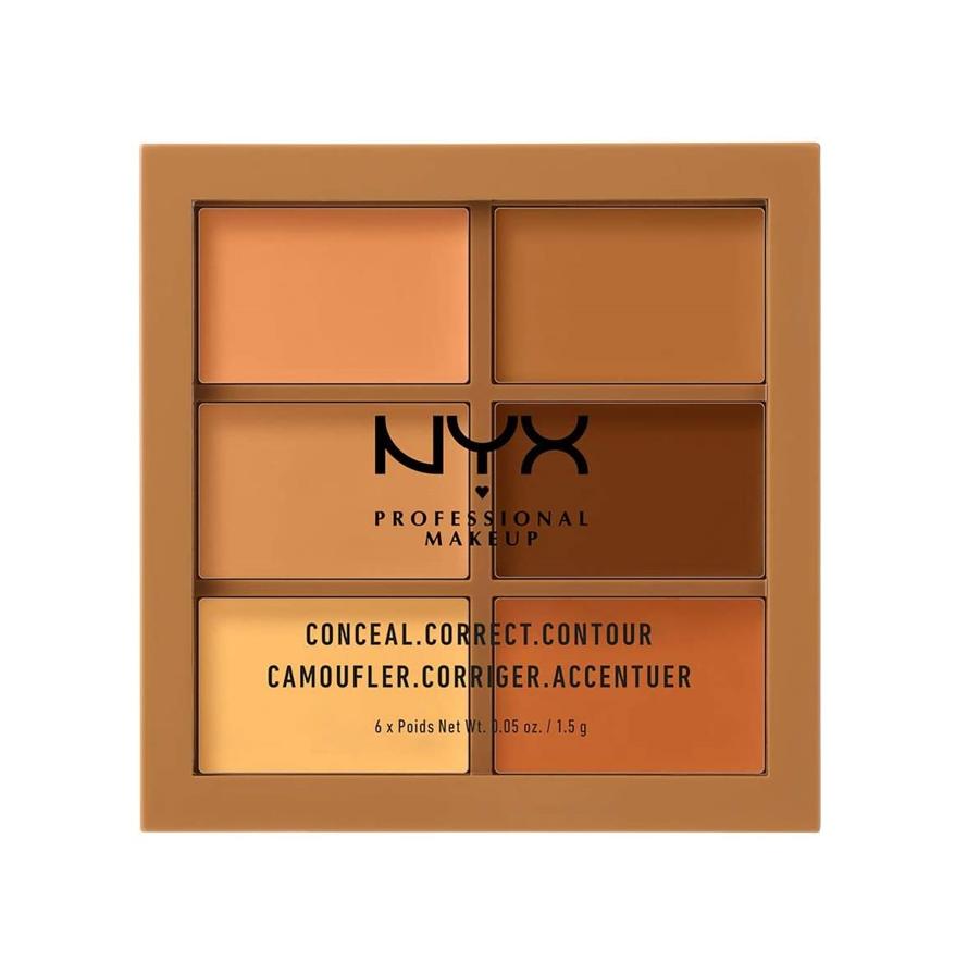 NYX Professional Makeup Paleta de correctores y contouring Conceal, Correct, Contour Palette, 6 sombras, Textura cremosa, Tono: Deep