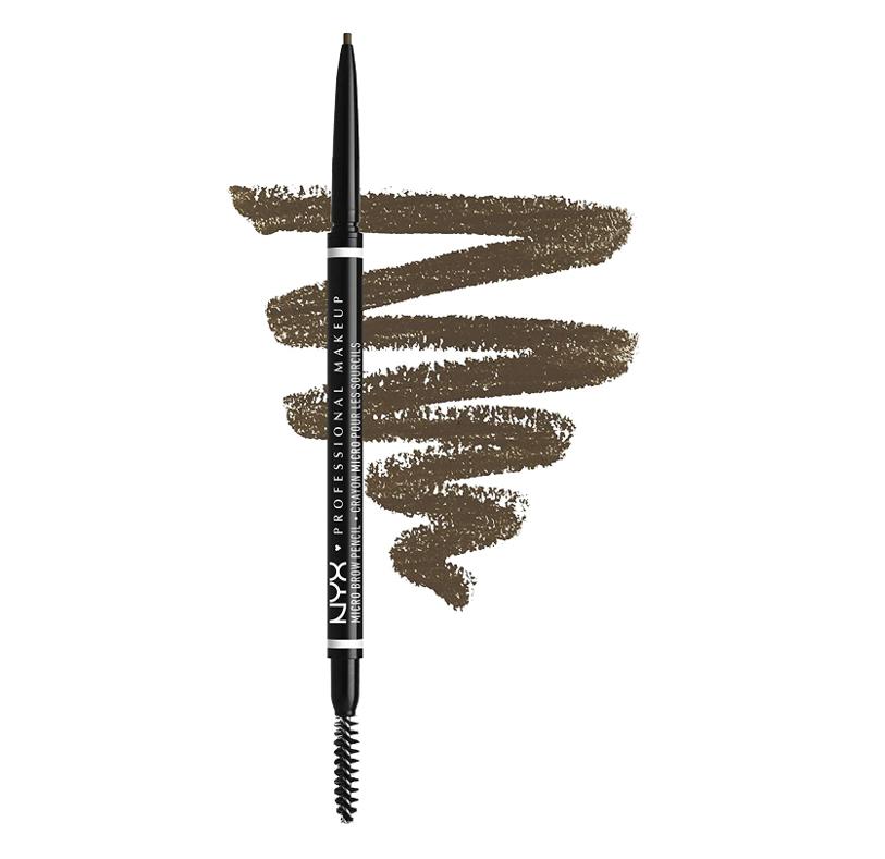NYX Professional Makeup Lápiz de cejas adecuadas Micro Brow Pencil, Dos lados: cepillo espiral y lápiz de cejas automático, Fórmula vegana, Tono: Ash Brown