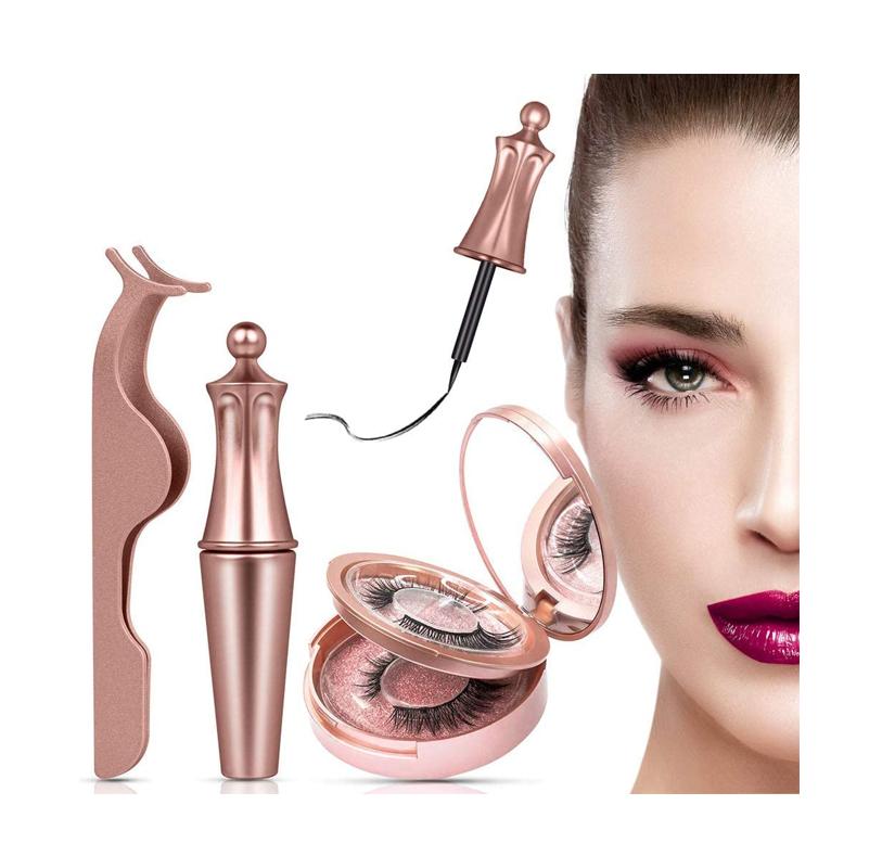 Pestañas Magneticas Delineado,Magnetic Eyeliner Kit De Pestañas Magnéticas Impermeable,3D Pestañas Postizas Naturales Magnéticas Reutilizables,Delineador De Ojos De Larga Duración Impermeable