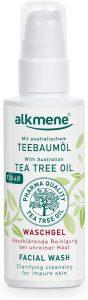 alkmene gel limpiador de aceite de árbol de té para piel impura - anti espinillas, impurezas de la piel y gel limpiador de rojeces - cuidado facial vegano