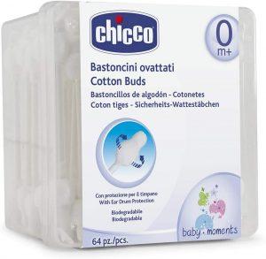 Chicco - Bastoncillos de oídos 100% algodón, con aplicador punta segura, 63 ud