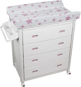 Plastimyr, Bañera con cajones blancos, Estrellas Rosas, 50 x 74 x 90 cm