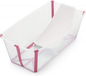 STOKKE® Flexi Bath® - Bañera bebé plegable con asiento para recién nacidos │ Piscina portátil para niños hasta los 4 años - Color: Transparent Pink