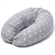 Cojin Lactancia Bebe & Almohada Embarazo Dormir | Funda Cojin 100% Algodon Color Gris con Estrellas Blancas, Desenfundable y Lavable | Relleno de Fibra Hueca de Poliéster Siliconado | Niimo®