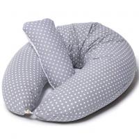 Cojin Lactancia & Almohada Embarazo + Soft Cojìn Dormir y Abrazar| Funda Cojin con Lunares Blancos 100% Algodon, Desenfundable y Lavable |Relleno de Fibra Hueca de Poliéster Siliconado | Niimo®